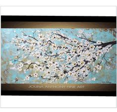 painting textured cherry blossom  abstract by jolinaanthony, $299.00