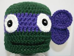 This cute Purple Ninja Turtle hat would make a wonderful photography prop. This hat comes in the following sizes:  Newborn  0-3 month  3-6 month
