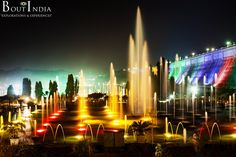 Brindavan Garden - about 20km from Mysore, is visited by close to 2 million tourists per year. The garden is one of the major attractions of Srirangapatna. The main attraction of the park is the musical fountain in which bursts of water are synchronized to the music of songs.  #Brindavan #Garden #Mysore #Srirangapatna #Park #Musical #Fountain #Water #Songs