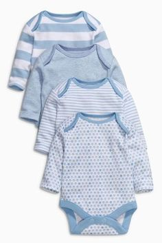 Buy Blue Long Sleeve Bodysuits Four Pack (0mths-3yrs) online today at Next: United States of America