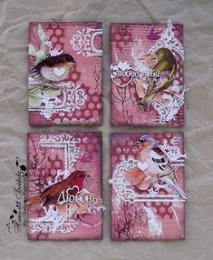 Beautiful mixed media canvases with birds Atc Cards, Card Tags, Paper Cards, Art Journal Pages, Journal Cards, Kirigami, Art Trading Cards, Artist Card, Art Journal Inspiration