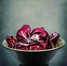 SIMPLY RED by Maggie Terlecki Raddichio. I just love the color and how the light shines through; I simply had to take a photo. Other name is Cichorium intybus. Also known as Italian chicory.  PRINTS AVAILABLE : CLICK IMAGE FOR MORE INFO #fineart #photography #stilllife #food #radicchio #maggieterlecki