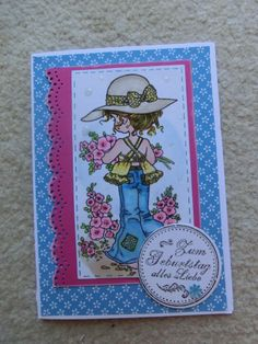 birthday card for a girl with sarah kay stamp