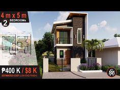 2 STOREY HOUSE DESIGN 4 X 5 M (40 sq.m.) | House Design #6 - YouTube House Plans 2 Storey, 3 Storey House Design, Two Story House Design, 2 Storey House, Duplex House Design, Small House Exteriors, Small Modern House Plans, Narrow House Plans, Modern Small House Design