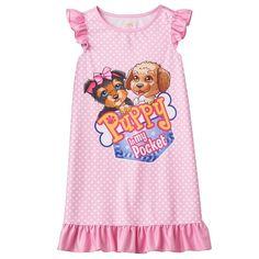 Girls 4-12 Puppy In My Pocket Tessa & Eileen Ruffle Dorm Nightgown, Pink