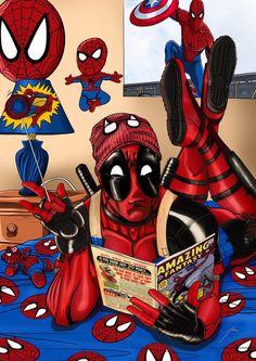 Deadpool's a Spider-Man fan colored by munizjohn