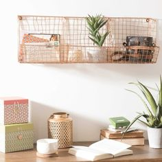 TRIPLE copper metal wall storage unit