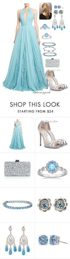 """Lynne's Dress for Meg and Carlisle's Wedding"" by stephanie-jozwiak ❤ liked on Polyvore featuring Zuhair Murad, Jimmy Choo, Edie Parker, La Perla and Ice"