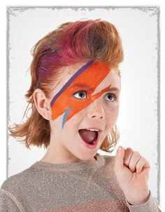 Ziggy Stardust 1. With a paintbrush, draw an orange lightning bolt across the face, stretching from the left forehead, over the right eye, and to the right ear. 2. Highlight with purple and blue face paint. 10 Easy Face Painting Ideas | Parenting