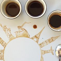 Learn The Basic Coffee Painting Techniques For Beginners - Ideas And Projects-homesthetics But First Coffee, I Love Coffee, Coffee Break, My Coffee, Coffee Drinks, Coffee Shop, Morning Coffee, Coffee Mugs, Coffee Travel