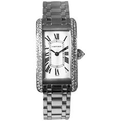 Pre-owned Cartier 18k White Tank Americaine 2 Row Diamond Bezel Quartz... ($19,350) ❤ liked on Polyvore featuring jewelry, watches, accessories, white gold, vintage wristwatches, vintage wrist watch, bezel watches, 18k watches and buckle watches