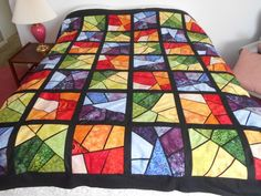 Quilting Projects, Quilting Designs, Quilting Ideas, Patchwork Patterns, Quilt Patterns, Granny Square Quilt, Crumb Quilt, Stained Glass Quilt, Red And White Quilts
