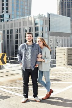 Charlotte, North Carolina Rooftop Engagement  Simply Bee Creative