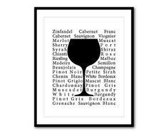 Room Decor  Wine Glass Typography  Kitchen by SusanNewberryDesigns, $15.00