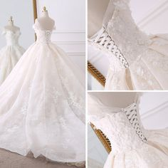 Stunning Champagne Wedding Dresses 2018 Ball Gown Off-The-Shoulder Short Sleeve Backless Lace Appliques Flower Pearl Ruffle Royal Train Atemberaubende Champagner … Western Wedding Dresses, Wedding Dresses 2018, Luxury Wedding Dress, Princess Wedding Dresses, Bridal Dresses, Wedding Shoes, Pretty Dresses, Beautiful Dresses, Unusual Dresses
