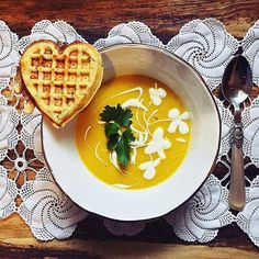What's not to  about this #cheese waffle & zucchini carrot turmeric #soup?! Thanks for sharing @married2berries! #savory #sweaterweather #rainyday #dinner  What dishes do you like to make with #turmeric? by wholefoods #instashare #sharingiscaring #love #theirsuccessisoursuccess
