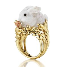 Bunny ring from Mimi So's Wonderland collection. 18K gold, white opal and orange sapphires.