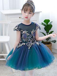 Color Block Flowers Mesh Applique Round Collar Short Sleeves Mini Dress. Cute  Little Girl DressesFlower Girl DressesGirls ... 240343c5890d