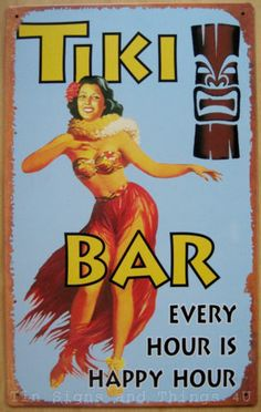 Hula Dancer Tiki Bar Happy Hour TIN SIGN wall home decor beach hawaiian girl OHW