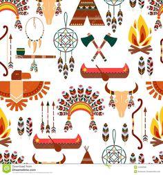Seamless Pattern American Tribal Native Symbols - Pesquisa Google
