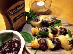BBQ Meatball Skewers Featuring KC Masterpiece Original Barbecue Sauce