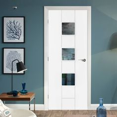 Messina White Primed Flush Door with Clear Safety Glass. Contemporary Doors, Modern Door, Safe Glass, Clear Glass, Architrave Door, White Interior Doors, Primed Doors, Messina, Door Fittings