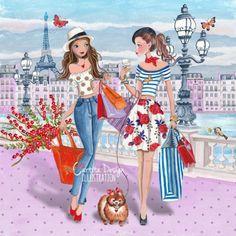 Girls shopping in paris, cartita design illustration Illustration Parisienne, Illustration Mode, Design Illustrations, Paris Canvas, Image Mode, Girl Birthday Cards, Birthday Sayings, Happy Birthday, Special Birthday
