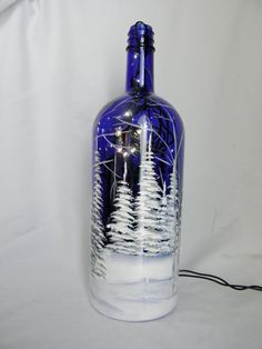 Wine Bottle Light Blue Glass-Winter Scene-Night Light Lamp