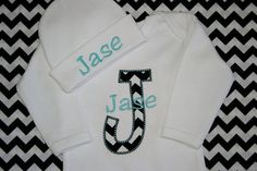 Chevron Personalized Infant Baby Gown Layette with Beanie Hat Appliqued and Monogrammed Baby Boy Girl Coming Home Outfit