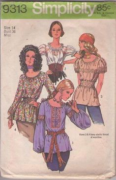 MOMSPatterns Vintage Sewing Patterns - Simplicity 9313 Vintage 70's Sewing Pattern TOTALLY AWESOME Hippie Boho Smocked Elastic Peasant Blouse, Tunic Top, Gypsy Styles Size 14