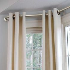The ideal solution to add style and privacy to your bay windows: Bay Window Curtain Rods. Ideal with a variety of window treatments. Bay Window Curtains Living Room, Bay Window Curtain Poles, Window Curtain Rods, Home Curtains, Curtains For Bay Windows, Window Valences, Corner Window Curtains, Lounge Curtains, Crates