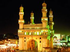 Charminar (means four tower) is the best known landmark that is situated in Hyderabad. It was constructed by Sultan Mohammed Quli Qutub Shah to gratify the force of evil attacking his new city with outbreak and afflict. It is properly located in the heart of the old walled city and surrounded by bazaars (markets). This monument is a 56m high triumphal arch. The arch is remarkable for its stylish balconies, stucco decorations and the small mosque. Photo:metrojournalist.com