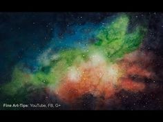 How to Paint a Galaxy With Watercolor - a Nebula - Universe - YouTube