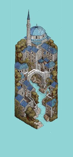 Mostar by Evan Wakelin, via Behance