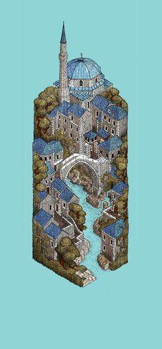 Mostar by Evan Wakelin, via Behance