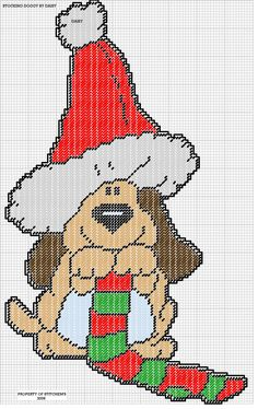 STOCKING DOGGY by DAISY*STITCHEMS -- WALL HANGING 2/2