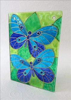 635930341925781250_Vitráž  malba na skle  motýlci 10x7 Monika Lainová…