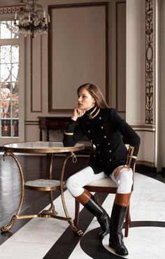 A modern flair for military style, embodied in the DB Officer's Jacket. Informations About A modern flair for military style, embodied in the DB Officer's Jacket. Pin You can Equestrian Chic, Equestrian Outfits, Equestrian Fashion, Equestrian Girls, Ralph Lauren Style, Ralph Lauren Collection, Ralph Lauren Boots, Ralph Lauren Fashion, Ralph Lauren Safari