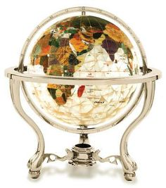 COMMANDER Gemstone World Globe - Diamond Cut Mother of Pearl (Free Shipping) Gemstone globe is handmade with a variety of semi precious stones that are individually hand carved to represent each country and has an option of a beautiful 24K gold plated or silver tone stand with a compass set in base.