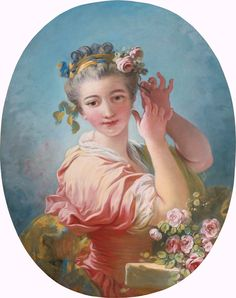 The Athenaeum - A Young Woman Adorning her Powederd Coiffure with a Spray of Roses (Jean-Honore Fragonard - )