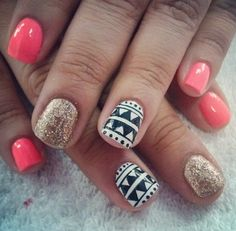 Tribal nails. Perfect for spring and summer