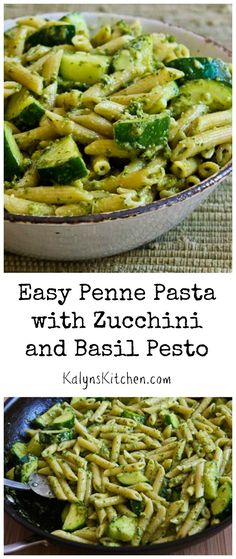 This Easy Penne Pasta with Zucchini and Basil Pesto is a quick dinner with the flavors of summer. The recipe only needs 5 ingredients if you use purchased basil pesto. [from KalynsKitchen.com]