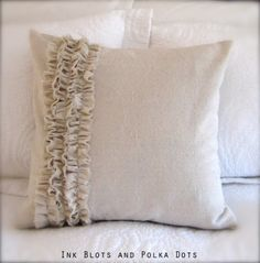 Ink Blots & Polka Dots: Drop Cloth Ruffle Pillow