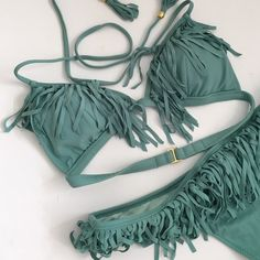 Fringe bikini This bikini is on trend for summer with its fringe details. Only worn once for a photo shot. Perfect condition.  Top is xs and bottom is s (but fits like xs). Victoria's Secret Swim Bikinis