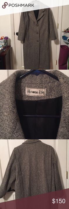 REDUCED!! Vintage Herman Kay Tweed Wool Coat Vintage Herman Kay Tweed Wool Coat with Nylon Lining. Size 12, gray and black.  May have minimal wear. Herman Kay Jackets & Coats Trench Coats