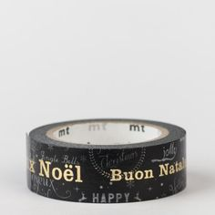 Masking tape / Joyeux Noël multilingue.  Dorure à chaud :)))
