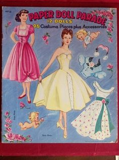 Vintage 1955 Paper Doll Parade 12 Dolls 96 Costumes and Pieces by Saalfield