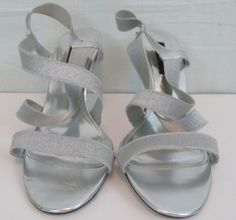 Nina New York Silver Sandals With 4 inch Heels Size 10M EUR 40 Nox box