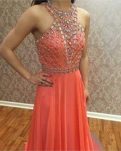 Charming Prom Dress,Long Prom Dress,Pink Chiffon Prom Dresses