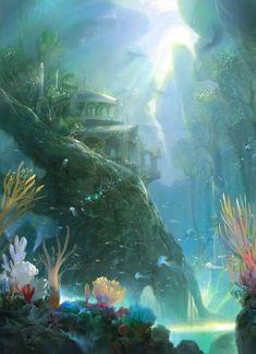 Concept Art Landscape Fantasy Atlantis 22 Ideas For 2019 Fantasy City, Fantasy Places, Fantasy Kunst, Fantasy World, Fantasy Art Landscapes, Fantasy Landscape, Landscape Art, Underwater Ruins, Underwater World